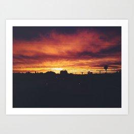 Fiery Sunset in LA Art Print
