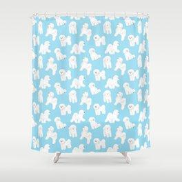 Bichon Frise Pattern (Blue Background) Shower Curtain