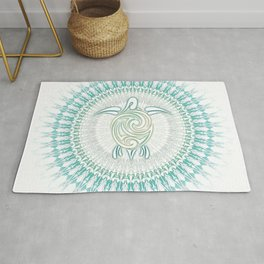 Turquoise Green Turtle And Mandala Rug
