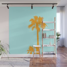 Orange palm trees silhouettes on blue Wall Mural