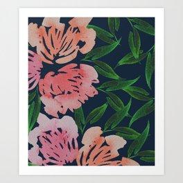 Loose Flowers - Navy Art Print
