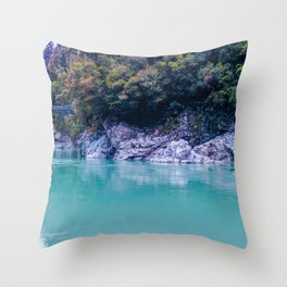 george river with blue water and ice colors in new zealand Throw Pillow