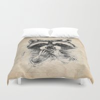 rocket raccoon Duvet Covers featuring Surprised raccoon by Anna Shell