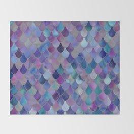 Mermaid Gems, Purple, Pink, Teal, Blue, Green Throw Blanket