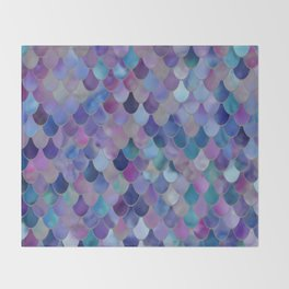 Mermaid Art, Purple, Pink, Teal, Blue, Green Throw Blanket