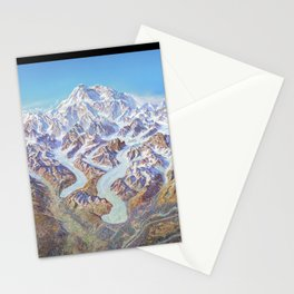 Heinrich Berann - Panoramic Painting of Denali National Park with labels (1994) Stationery Cards