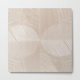Cream Tropical Leaf Minimalist Metal Print
