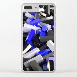 Pile of black, white and blue hexagon details Clear iPhone Case