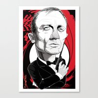 james bond Canvas Prints featuring James Bond by drawgood