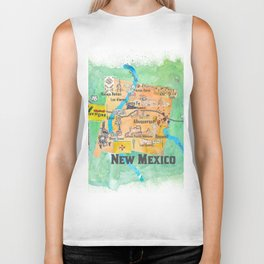 USA New Mexico State Illustrated Travel Poster Favorite Map Biker Tank