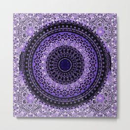 Purple Tapestry Mandala Metal Print