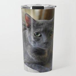 Sweet Russian Blue Grey Kitty Cat Travel Mug