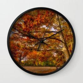 Fall Road,Chestnut Hill, Massachusetts Wall Clock