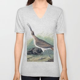 Hudsonian curlew, Birds of America, Audubon Plate 237 Unisex V-Neck
