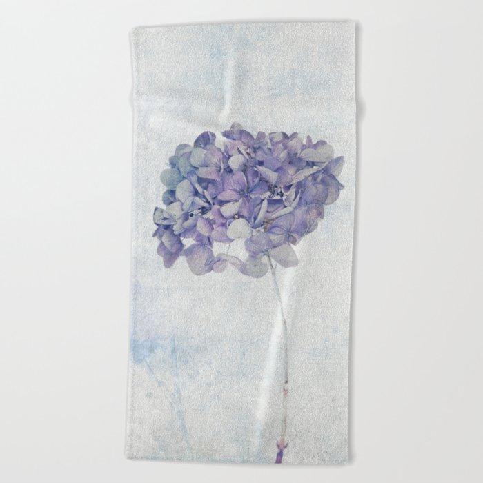 Blue Vintage Hydrangea Beach Towel