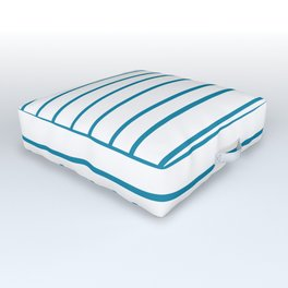 Primary Blue, Wishing Well Blue, Amazing Sky, Blue to the Bone Hand Drawn Horizontal Stripes Outdoor Floor Cushion