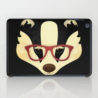 badger iPad Cases featuring Hipster Badger by Compassion Collective
