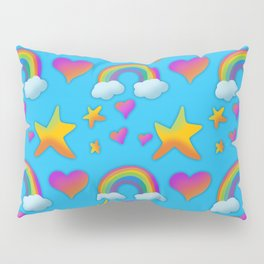 Bright Design with Rainbows, Hearts, and Stars Pillow Sham