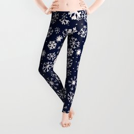 Hand Drawn Snowflake Blizzard With Navy Classic Blue Background Leggings