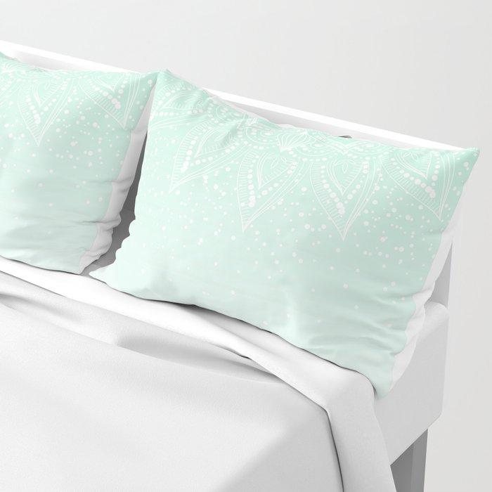 Elegant white and mint mandala confetti design Pillow Sham