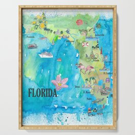 USA Florida State Fine Art Print Retro Vintage Map with Touristic Highlights Serving Tray