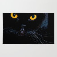 black cat Area & Throw Rugs featuring Black cat by Vlad&Lyubov
