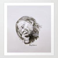 radiohead Art Prints featuring Radiohead Portrait by Raquel García Maciá