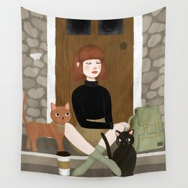 cats & coffee Wall Tapestry