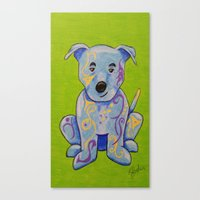 pitbull Canvas Prints featuring Pitbull by K.ForstnerArt
