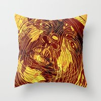 notorious Throw Pillows featuring NOTORIOUS by BlackKirby1
