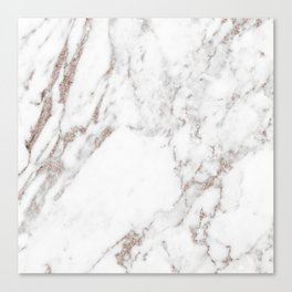 Rose gold shimmer vein marble Canvas Print