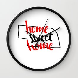 Home Sweet Home Nebraska Wall Clock