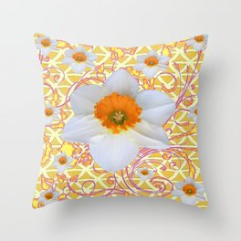 WHITE DAFFODILS DELICATE VIOLET SCROLLS ART  PATTERN Throw Pillow