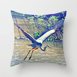 Flying (Blue Heron) Throw Pillow