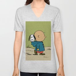snoopy walk in the forest Unisex V-Neck
