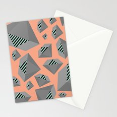Mint and Gray Diamond on Peach Stationery Cards