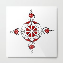 Ornamental Dotted Large Metal Print