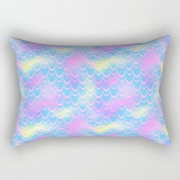 Blue and Pink Mermaid Tail Abstraction. Magic Fish Scale Pattern Rectangular Pillow
