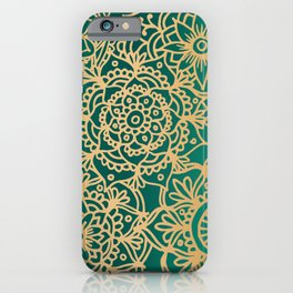 Teal Green and Gold Mandala Pattern New 2020 iPhone Case