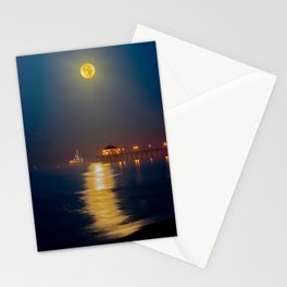 Huntington Beach Pier Moonset  12/6/14 Stationery Cards