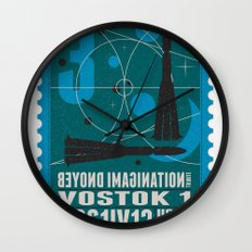 Beyond imagination: Vostok 1 postage stamp  Wall Clock