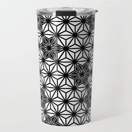 Japanese Asanoha or Star Pattern, Black and White Travel Mug
