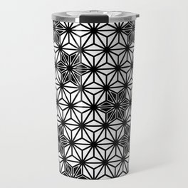 Japanese Asanoha or Star Pattern, Black and White Travel Mug