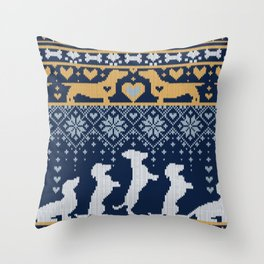 Fair Isle Knitting Doxie Love // navy blue background white and yellow dachshunds dogs bones paws and hearts Throw Pillow
