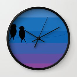 Love birds on wire at dusk Wall Clock
