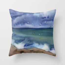 Thunderstorm at sea Throw Pillow