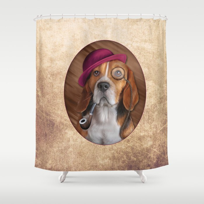 Drawing Dog Beagle Shower Curtain By Bonidog
