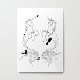 Mermaidunicorns Metal Print