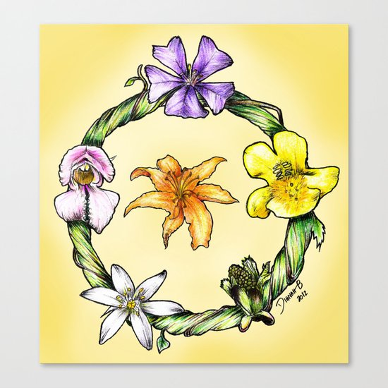 Garland of flowers Canvas Print