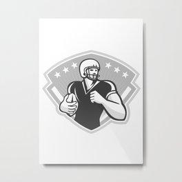 American Football Running Back Crest Grayscale Metal Print